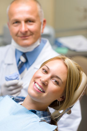 A dentist and patient